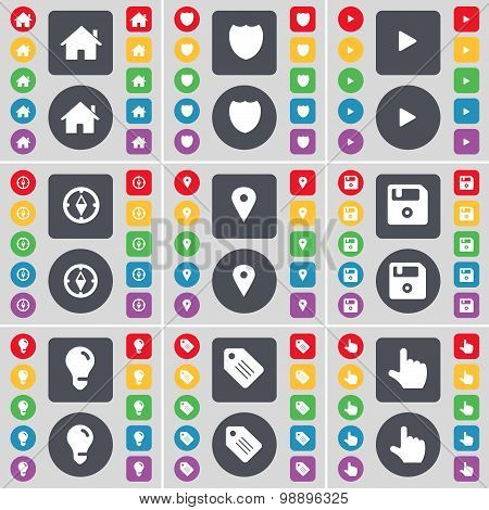 House, Badge, Media Play, Compass, Checkpoint, Floppy, Light Bulb, Tag, Hand Icon Symbol. A Large Se