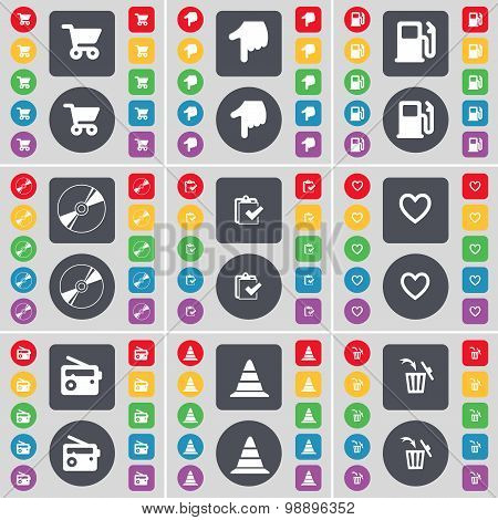 Shopping Cart, Hand, Gas Station, Disk, Survey, Heart, Radio, Cone, Trash Can Icon Symbol. A Large S