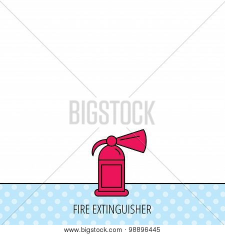 Fire extinguisher icon. Flame protection sign.
