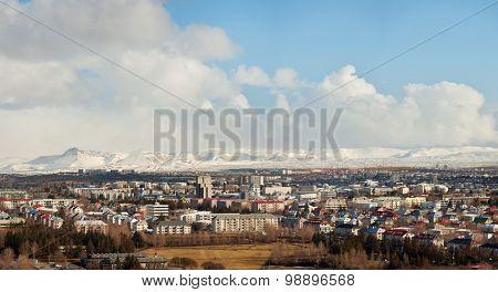 Reykjavik city panoramic view travel destination