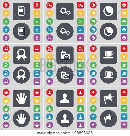 Mobile Phone, Gear, Moon, Medal, Sms, Cup, Hand, Avatar, Megaphone Icon Symbol. A Large Set Of Flat,