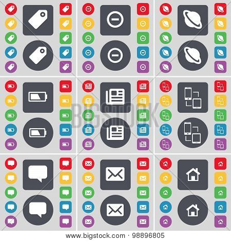 Tag, Minus, Planet, Battery, Newspaper, Connection, Chat Bubble, Message, House Icon Symbol. A Large
