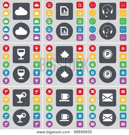 Cloud, Diagram File, Headphones, Wineglass, Maple Leaf, Parking, Cocktail, Cup, Message Icon Symbol.