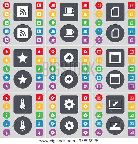 Rss, Cup, File, Star, Back, Window, Thermometer, Gear, Laptop Icon Symbol. A Large Set Of Flat, Colo