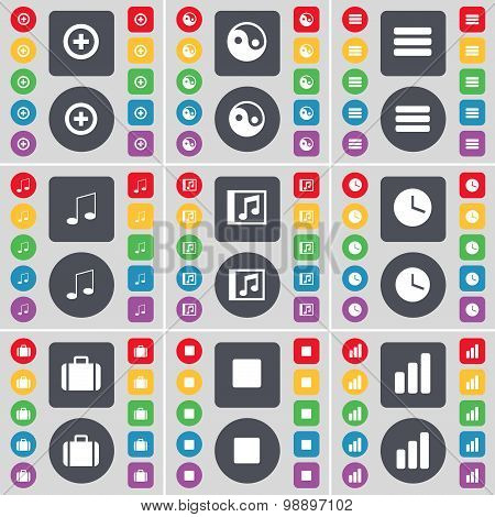 Plus, Yin-yang, Apps, Note, Music Window, Clock, Suitcase, Media Stop, Diagram Icon Symbol. A Large