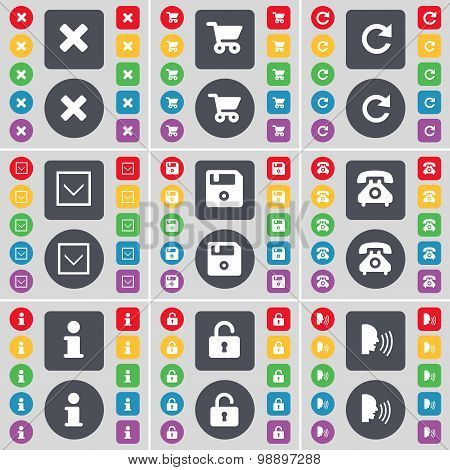 Stop, Shopping Cart, Reload, Arrow Down, Floppy, Retro Phone, Information, Lock, Talk Icon Symbol. A