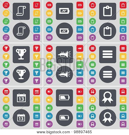 Scroll, Charging, Survey, Cup, Trumped, Apps, Calendar, Battery, Medal Icon Symbol. A Large Set Of F