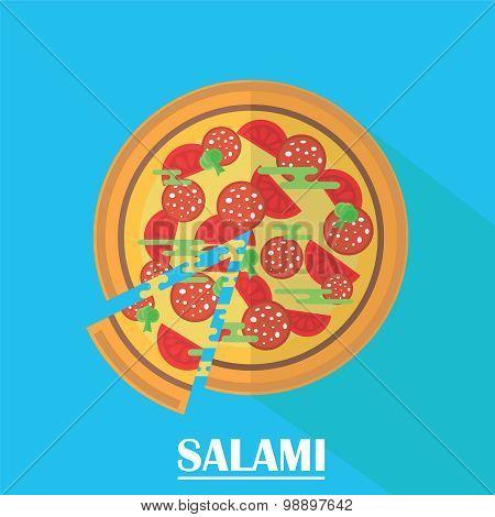 Salami Pizza Vector Illustration.