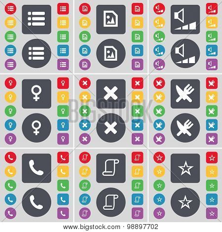 List, Media File, Volume, Venus Symbol, Stop, Fork And Knife, Receiver, Scroll, Star Icon Symbol. A