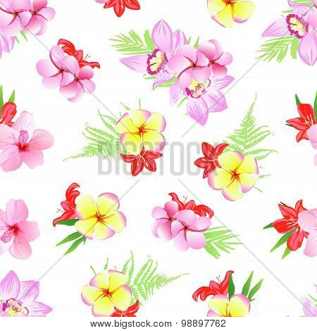 Exotic Plumeria, Frangipani, Orchid Seamless Vector Print