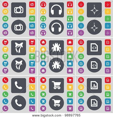 Camera, Headphones, Compass, Bow, Bug, File, Receiver, Shopping Cart, Graph File Icon Symbol. A Larg