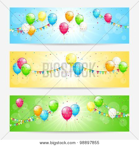 Colorful Cards With Balloons
