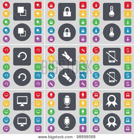 Copy, Lock, Thermometer, Reload, Rocket, Smartphone, Monitor, Microphone, Medal Icon Symbol. A Large