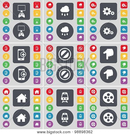 Game Console, Cloud, Gear, Smartphone, Stop, Hand, House, Train, Videotape Icon Symbol. A Large Set