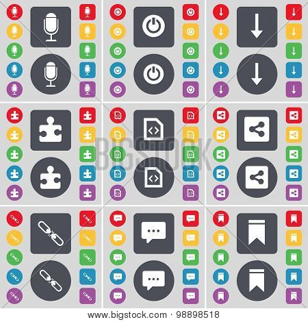 Microphone, Power, Arrow Down, Puzzle Part, File, Share, Link, Chat Bubble, Marker Icon Symbol. A La