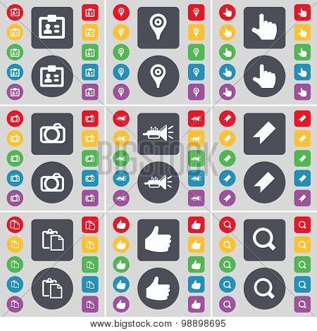Contact, Checkpoint, Hand, Camera, Trumped, Marker, Survey, Like, Magnifying Glass Icon Symbol. A La