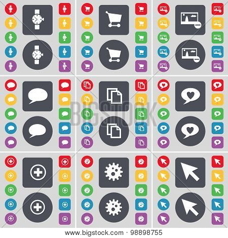 Wrist Watch, Shopping Cart, Picture, Chat Bubble, File, Heart, Plus, Gear, Cursor Icon Symbol. A Lar