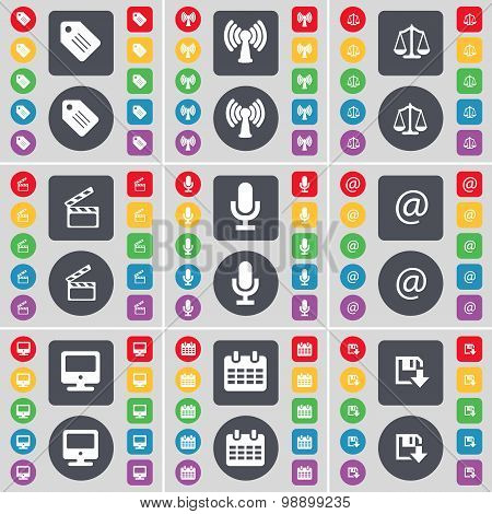 Tag, Wi-fi, Scales, Clapper, Microphone, Mail, Monitor, Calendar, Floppy Icon Symbol. A Large Set Of