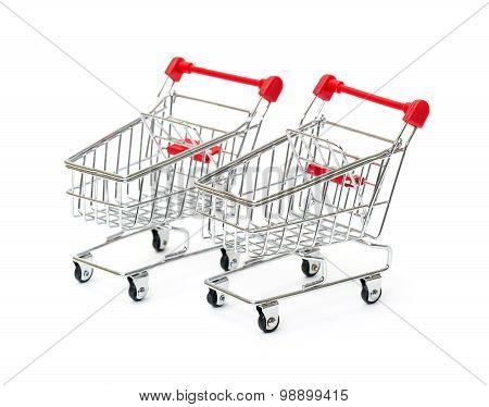 Two Metallic Shopping Cart
