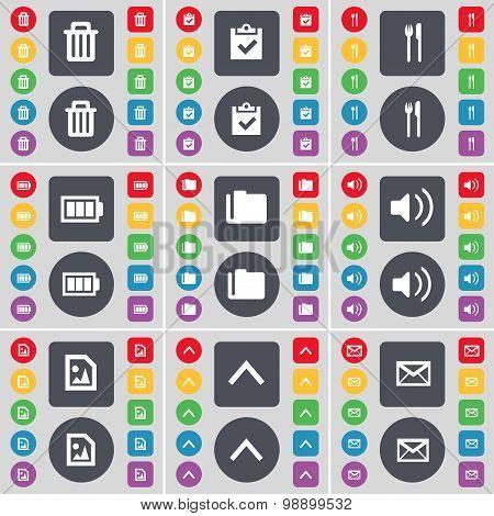 Trash Can, Survey, Fork And Knife, Battery, Folder, Sound, Media Icon Symbol. A Large Set Of Flat, C
