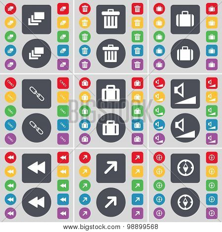 Gallery, Trash Can, Suitcase, Link, Suitcase, Volume, Rewind, Fu Icon Symbol. A Large Set Of Flat, C
