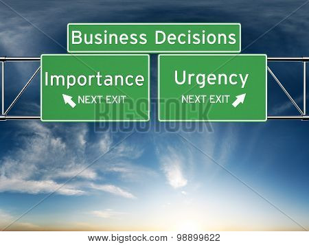 Business decision making focusing on decisions of importance or urgency.