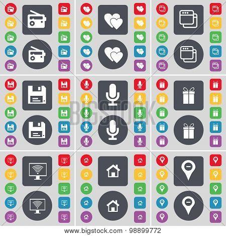 Radio, Heart, Window, Floppy, Microphone, Gift, Monitor, House,  Icon Symbol. A Large Set Of Flat, C