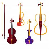 Постер, плакат: Set of different violins and cello with bows on white backgound