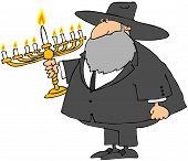 picture of rabbi  - This illustration depicts a Rabbi holding a golden Menorah with all of the candles lit - JPG