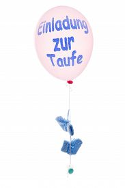 image of baptism  - Pink balloon with blue baby - JPG
