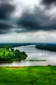 stock photo of kama  - River Kama evening storm clouds top view of Tatarstan Yelabuga Russia hdr filter two - JPG