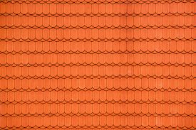 image of red roof  - New Red Roof Tiles as Repeating Pattern Background for House Roofing - JPG