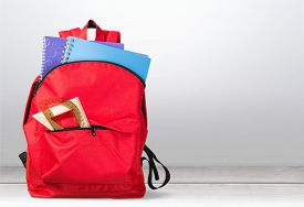 picture of red back  - School backpack back full background isolated educational - JPG