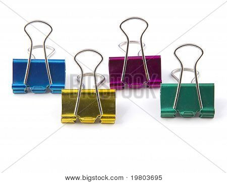 Four Colored Paper Clips
