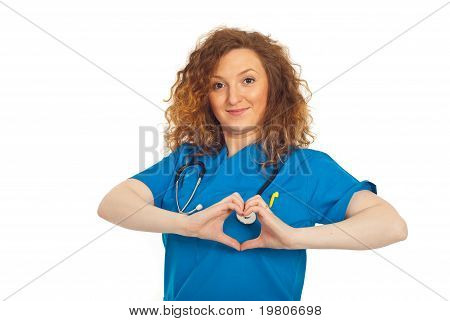 Cheerful Doctor Forming Heart Shape