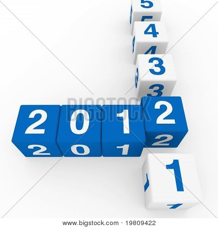 New Year Cube Blue White