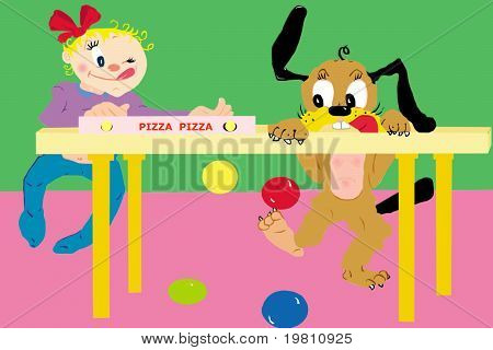 funny kid and dog friend