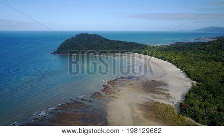 Aerial view of beach, coast and sea. Cape Tribulation, Queensland, Australia