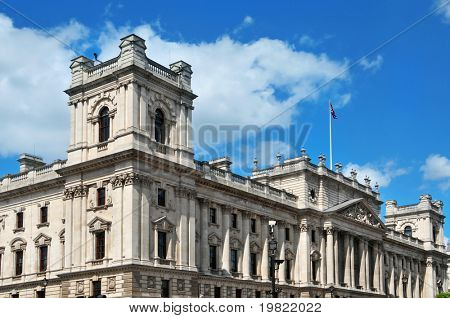 a view of HM Treasury headquarters in London, United Kingdom