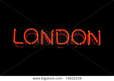 Red neon sign of the word 'London' on a black background.