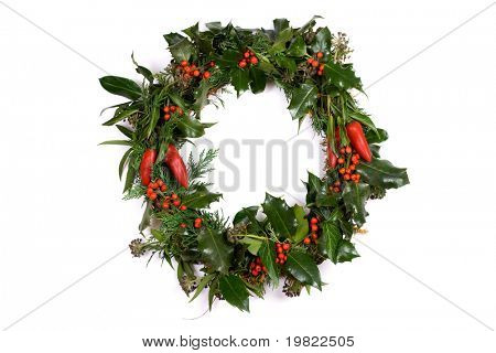 Christmas Wreath with Holly, Berries and Chillies.