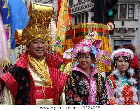 Chinese people in costume at Chinese New Year in London
