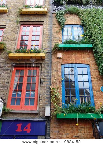 Colored windows frames in London street