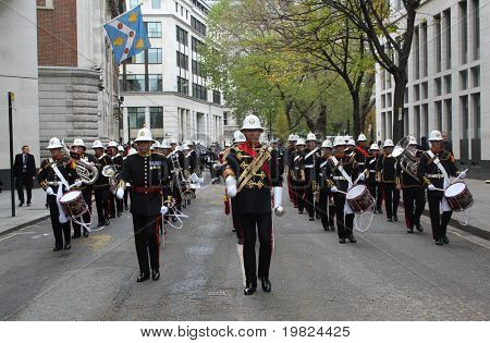 CITY OF LONDON, ENGLAND - NOVEMBER 12: Military marching band on parade at the Lord Mayor's Show in the City of London on November 12, 2010. The Lord Mayor's Show is an annual event in London.