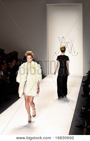 NEW YORK - FEBRUARY 11: Models walk the runway for the Ruffian collections Mercedes-Benz Fashion Week at Lincoln Centre on February 11, 2010 in New York.