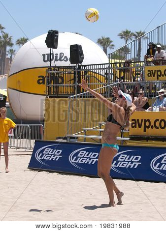 HUNTINGTON BEACH, CA. - MAY 23: Jen Kessy at the AVP Huntington Beach Open south of the pier on the weekend May 23, 2009 in Huntington Beach, California.