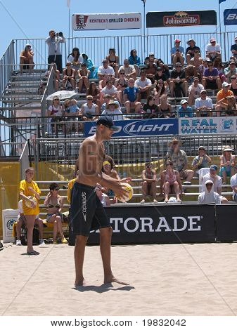 HUNTINGTON BEACH, CA. - MAY 23: Phil Dalhausser at the AVP Huntington Beach Open south of the pier on the weekend May 23, 2009 in Huntington Beach, California.
