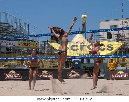 HUNTINGTON BEACH, CA. - MAY 23: AVP Huntington Beach Open, Ashley Ivy and Lauren Fendrick vs Jennifer Kessy and April Ross at the Huntington Beach Open on May 23rd 2009