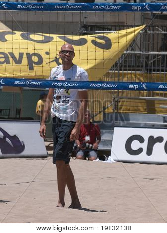 HUNTINGTON BEACH, CA. - MAY 23: AVP Huntington Beach Open south of the pier on the weekend of the 22nd -24th in Huntington Beach, California. Phil Dalhausser before quarter final match. May 23rd 2009