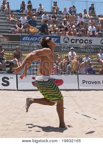HUNTINGTON BEACH, CA. - MAY 23: Ty Loomis during a match at the AVP Huntington Beach Open south of the pier on the weekend of the 22nd -24th in Huntington Beach, California May 23rd 2009